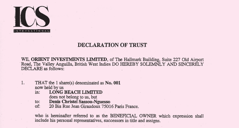 52 CHAPTER 5 Bank of East Asia and Republic of Congo Denis Christel registered a company called Long Beach in the British tax haven of Anguilla, then put his shares in trust to hide his ownership.