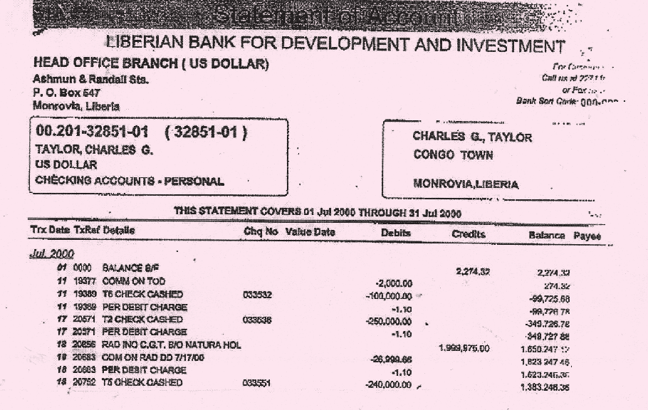 GLOBAL WITNESS MARCH 2009 UNDUE DILIGENCE 71 Debit ticket showing payment of nearly $2 million on 18 July 2000 from Natura Holdings, a company associated with OTC, into Charles Taylor s personal bank