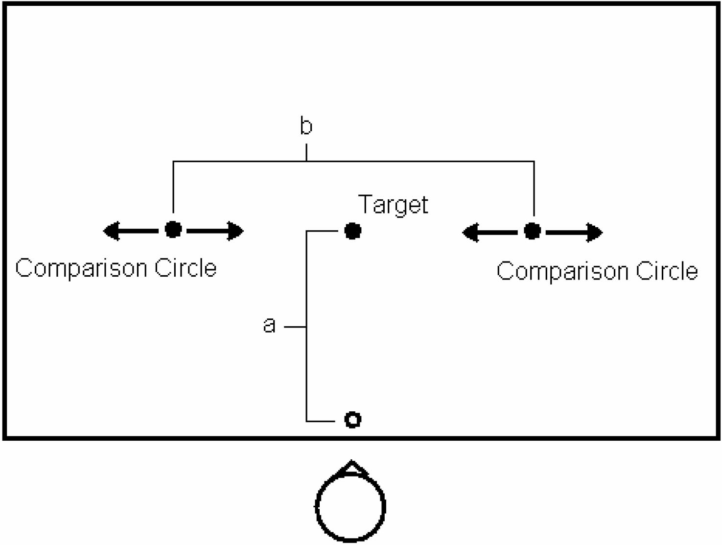 On every trial, participants adjusted the comparison circles closer together or farther apart until the distance between the comparison circles appeared to be the same as the distance to the target