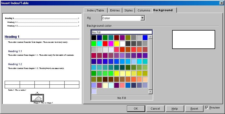 Illustration 5 Background tab Adding a graphic To add a graphic to the background