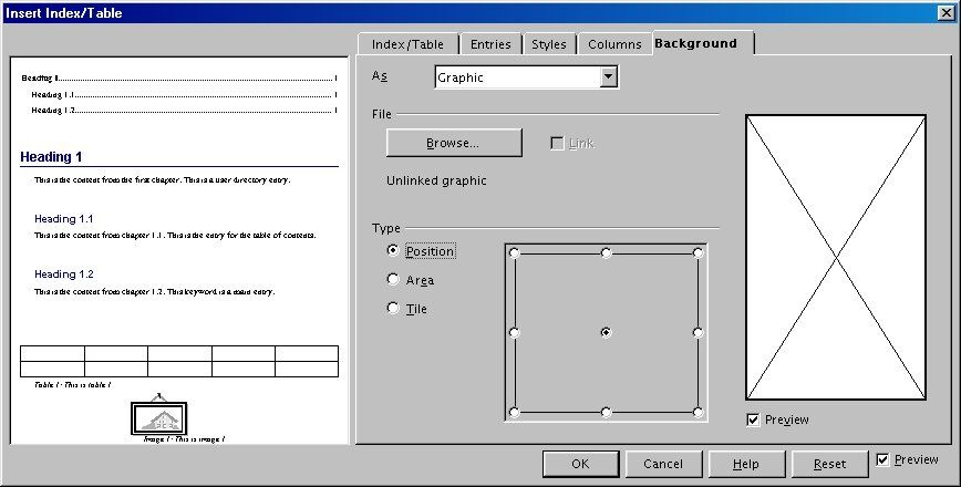 select Graphic. The Background tab displays the graphics options.