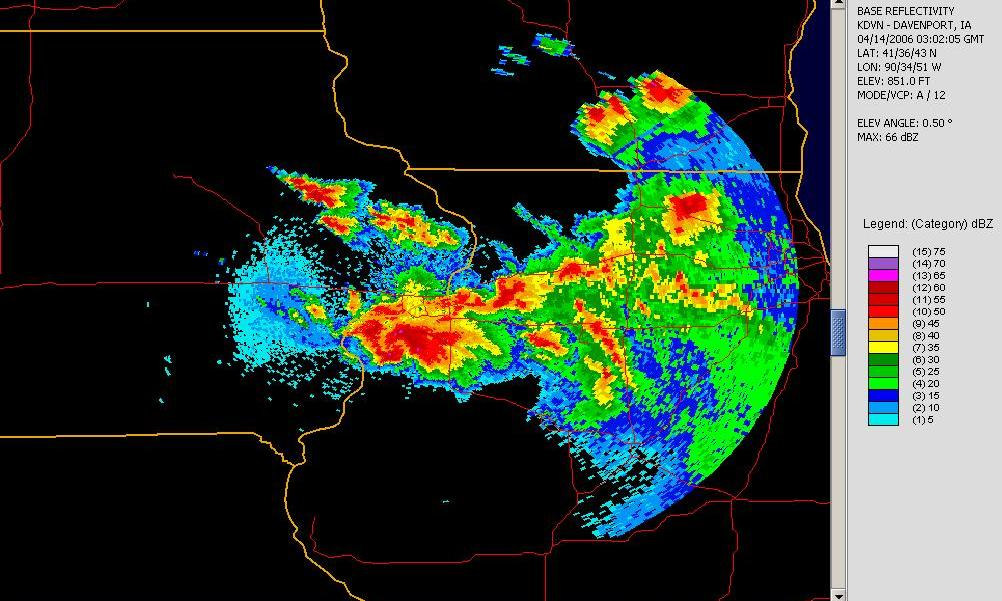 An example of beam spreading. Base reflectivity imagery from the Davenport, IA radar (KDVN) late on April 13, 2006.