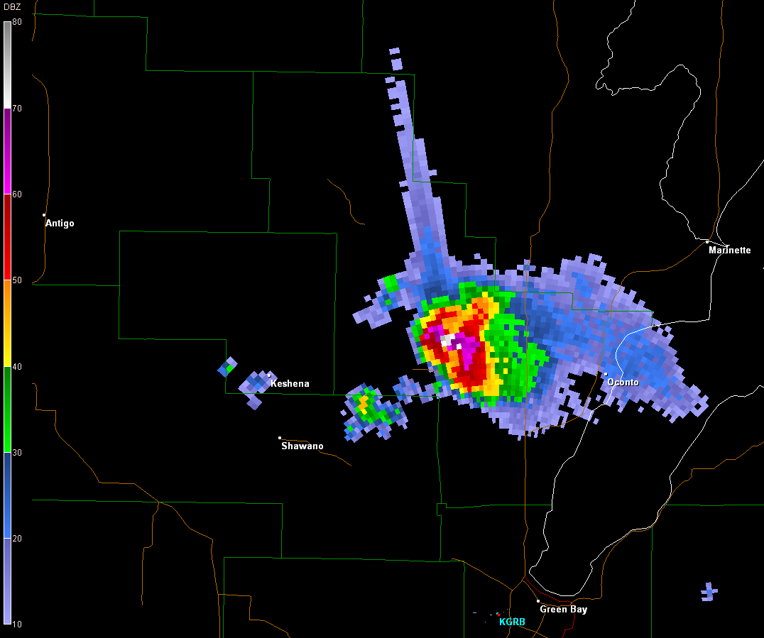 A three-body scatter spike. An example of a three-body scatter spike is shown from the Green Bay, WI (KGRB) radar using the Gibson Ridge software.