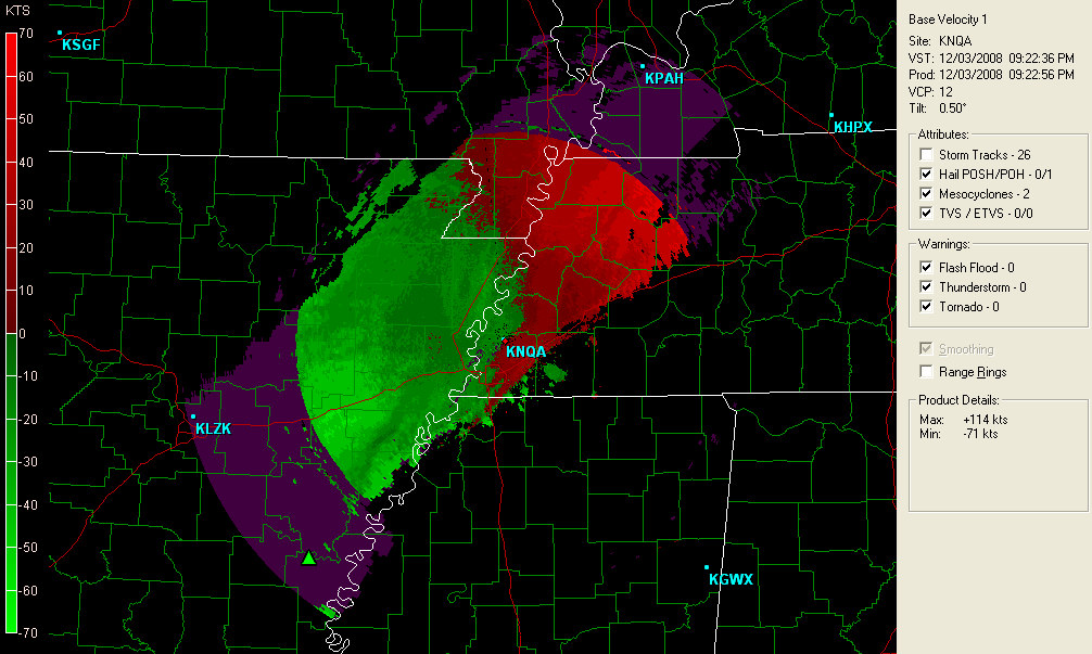 Range folding. A base velocity image from the Memphis, TN (KNQA) radar site is shown using the Gibson Ridge software. Purple haze is apparent towards the outer edges of the radar s range.