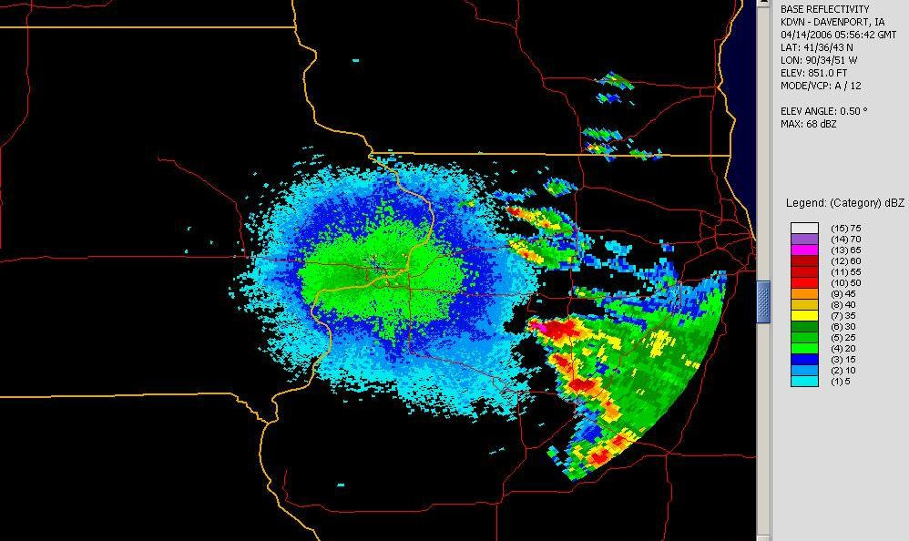 Ducting of the radar beams is causing the ground to reflect energy back towards the radar, giving the nearly uniform circle of reflectivity centered over the site.