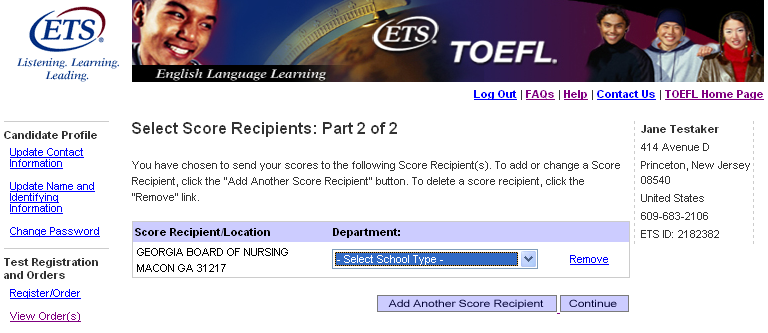 Step 12: Select your score recipients Part 2 Verify