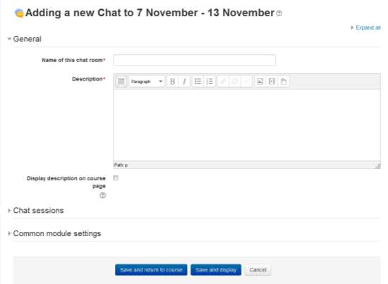 Figure 6-1 Adding a new chat activity Everyne can view past sessins: Decide here whether r nt allw everyne t view past chat sessins.