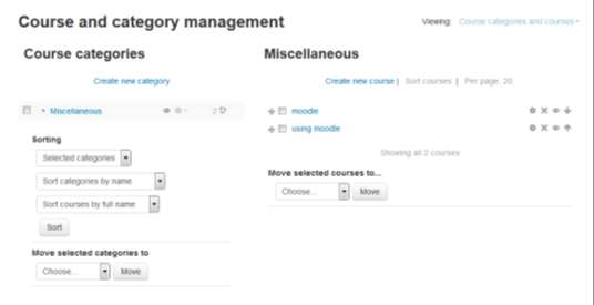 "Manage Curse and Categries: Curse categries rganize curses fr all Mdle site participants. The default curse categry n a new Mdle site is ""Miscellaneus""."