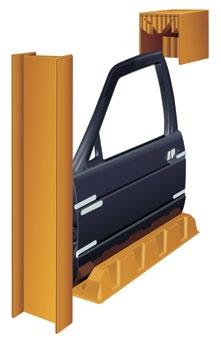 Door-Pack Design Die-cut corrugated insert Windshield-Pack Design Corrugated roll-up (275# C flute) Corrugated scored pad (275# BC flute) Corrugated