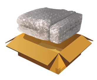 Use fillers like crumpled newspaper, loosefill peanuts, or air-cellular cushioning material such as Bubble Wrap to fill void spaces and prevent movement of goods inside the box during shipping.