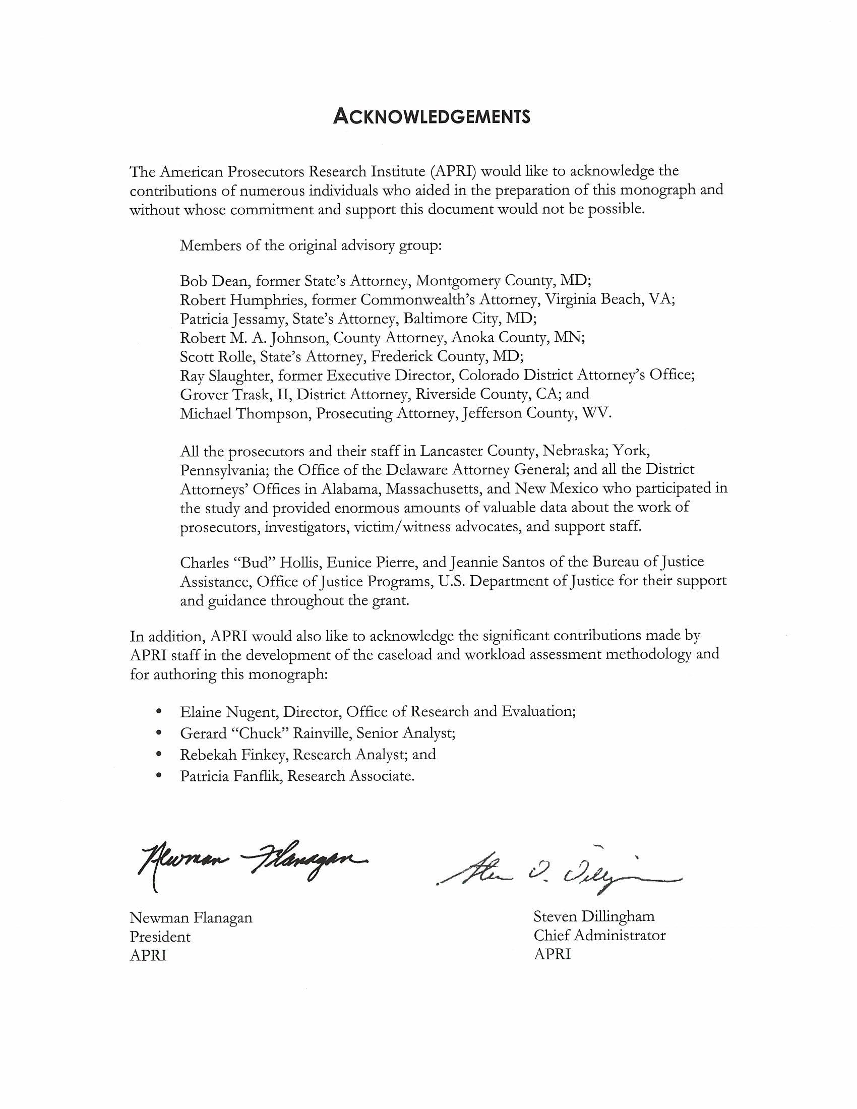 ACKNOWLEDGEMENTS The American Prosecutors Research Institute (APRI) would like to acknowledge the contributions of numerous individuals who aided in the preparation of this monograph and without