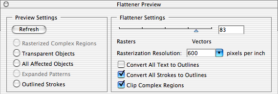Inspecting and Fine-Tuning the PDF Document 45 Previewing transparency flattening in Acrobat The Transparency Flattener Preview palette allows you to detect objects in a PDF document that are