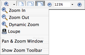 Inspecting and Fine-Tuning the PDF Document 48 A B C D Magnification options on toolbar A. Zoom menu B. Zoom Out button C. Magnification percentage D.