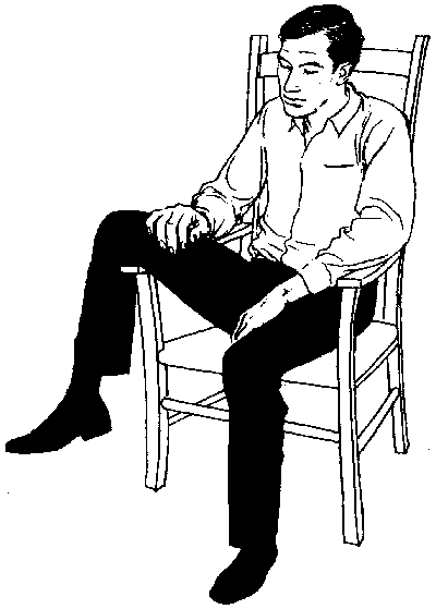 18. Indifference or worse: a leg over arm of chair Sitting with a Leg over Arm of Chair ( getting a leg up ) (Figure 18).