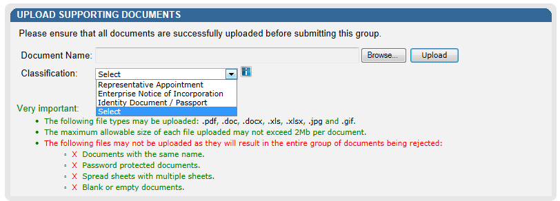 Select the Upload button to add the document(s) and it will be listed under the Uploaded Documents heading.