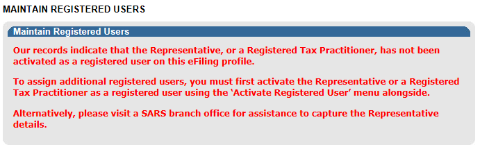 The following message will be displayed when you are not registered as the representative or the