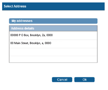 Create new address button all fields will be cleared and you will be able to enter new unlisted physical address details.