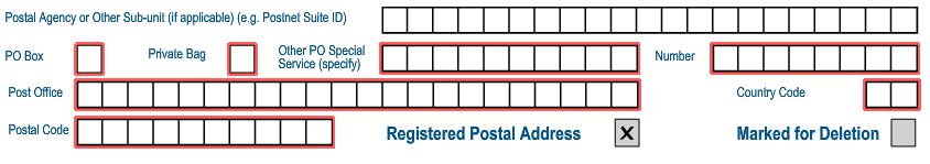 The following fields will be displayed: Mark here with an X if same as above or complete your Postal Address if you select this option, all the postal address fields will be removed and the two