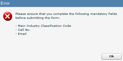 33 SUBMISSION OF THE RAV01 If you have not completed all mandatory fields on the RAV01 form, you will receive an error message that will