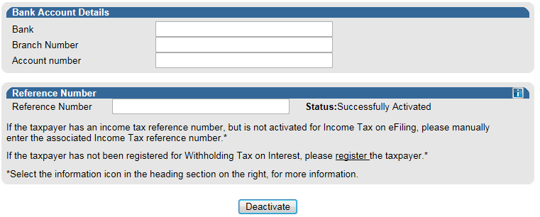 If you wish to deactivate the WTI functionality on efiling, click on the Deactivate button displayed