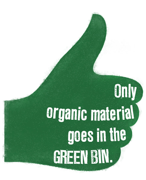TIP:5 No dirt, rocks or bricks in the GREEN BIN. Small quantities of these items can go in your WASTE BIN. Take larger amounts to your local waste transfer station (tip).