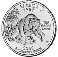 Alaska The fourth quarter released by the United States Mint in 2008 commemorates the State of Alaska. It is the 49th coin to be issued in the Mint s 50 State Quarters Program.