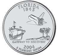 Florida The Florida quarter is the second of 2004, and the 27th in the United States Mint s 50 State Quarters Program. On March 3, 1845, Florida became the 27th state to be admitted into the Union.