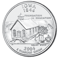 Iowa The Iowa quarter is the fourth of 2004, and the 29th in the 50 State Quarters Program. On December 28, 1846, Iowa became the 29th state to be admitted into the Union.