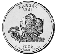 "Kansas The fourth quarter to be released in 2005 commemorates the State of Kansas. On January 29, 1861, the ""Sunflower State"" became the 34th state to be admitted into the Union."