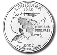 View all the 50 State Quarters Products Louisiana The Louisiana quarter, the third quarter of 2002 and eighteenth in the series, displays the image of Louisiana's state bird -- the pelican, a trumpet