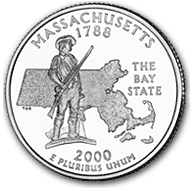 The Massachusetts quarter's reverse bears a likeness of the celebrated Minuteman of the American Revolution against an outline of the state.