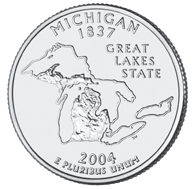 View all the 50 State Quarters Products Michigan The Michigan quarter is the first of 2004, and the 26th in the United States Mint's 50 State Quarters Program.