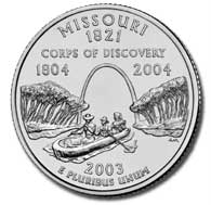 View all the 50 State Quarters Products Missouri The Missouri quarter is the fourth quarter of 2003, and the 24th in the 50 State Quarters Program.