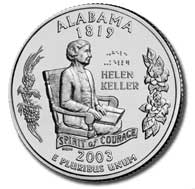 Alabama The Alabama quarter is the second quarter of 2003, and the 22nd in the 50 State Quarters Program. Alabama became the 22nd state to be admitted into the Union on December 14, 1819.
