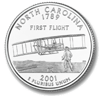 "View all the 50 State Quarters Products The North Carolina quarter's reverse features the first successful airplane ""flight"" in Kill Devil Hills, NC."