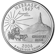 View all the 50 State Quarters Products Nebraska The second commemorative quarter-dollar coin released in 2006 honors Nebraska, and is the 37th coin in the United States Mint's 50 State Quarters