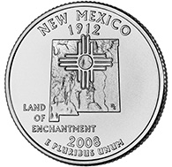 View all the 50 State Quarters Products New Mexico The second commemorative quarter-dollar coin released in 2008 honors New Mexico, and is the 47th coin in the United States Mint s 50 State Quarters