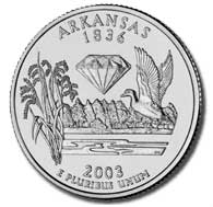 View all the 50 State Quarters Products Arkansas The Arkansas quarter is the fifth and final quarter of 2003, and the 25th in the 50 State Quarters Program.