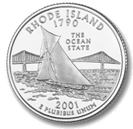 "The Rhode Island quarter's reverse features a sailboat on the open sea to commemorate the ""Ocean State."