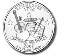View all the 50 State Quarters Products Tennessee The Tennessee quarter, the first quarter of 2002 and sixteenth in the series, celebrates the state's contributions to our nation's musical heritage.