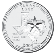 Texas The Texas quarter is the third quarter of 2004, and the 28th in the 50 State Quarters Program. On December 29, 1845, Texas became the 28th state to be admitted into the Union.