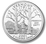Vermont The Vermont quarter, the 4th quarter in the 2001 series, features Camel's Hump Mountain with an image of maple trees with sap buckets in the forefront.