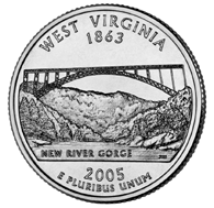 View all the 50 State Quarters Products West Virginia The fifth and final quarter to be released in 2005 commemorates the State of West Virginia.