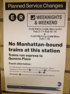 No service diversion announcements were made on-board Jackson Heights Roosevelt Av Station (Transfer) The conductor on
