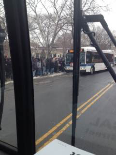 The bus operator was making bus stop announcements Crowding Conditions
