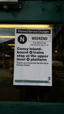 Island-Stillwell Av Terminal, conductor on the N train announced to passengers that this train