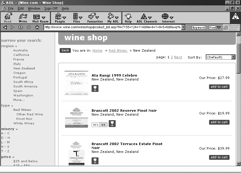 AP 58,1/2 64 Figure 2 Faceted navigation on the Wine Shop site (http:// wwwwinecom/) a briefer survey of 75 e-commerce sites, discovered that 69 per cent of them made use of some form of faceted