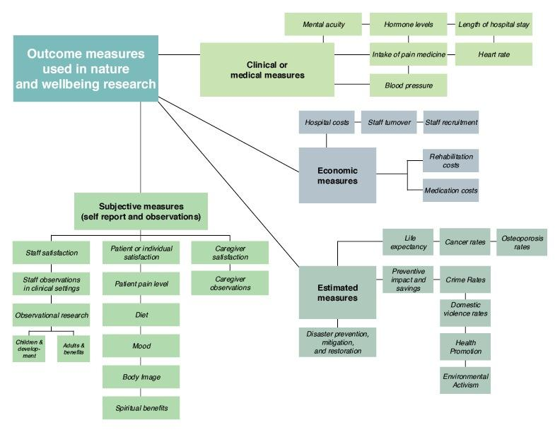 Figure 4. Outcome measures used in nature and wellbeing research.