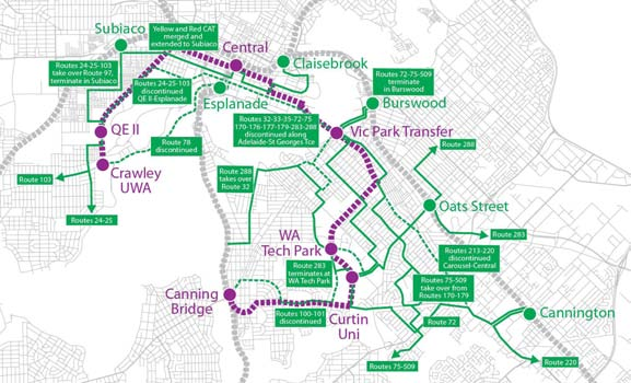 Map D-1: Location of Knowledge Arc LRT route and adaptation of bus network.