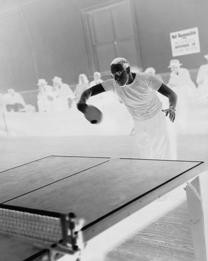 Frank Haraway playing table tennis in the 1930s.